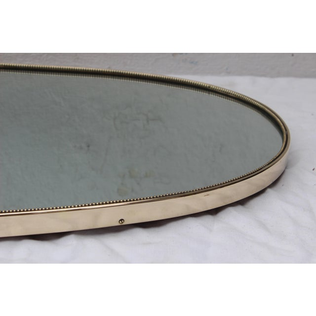 Large Italian Brass Shield Form Mirror For Sale - Image 4 of 7