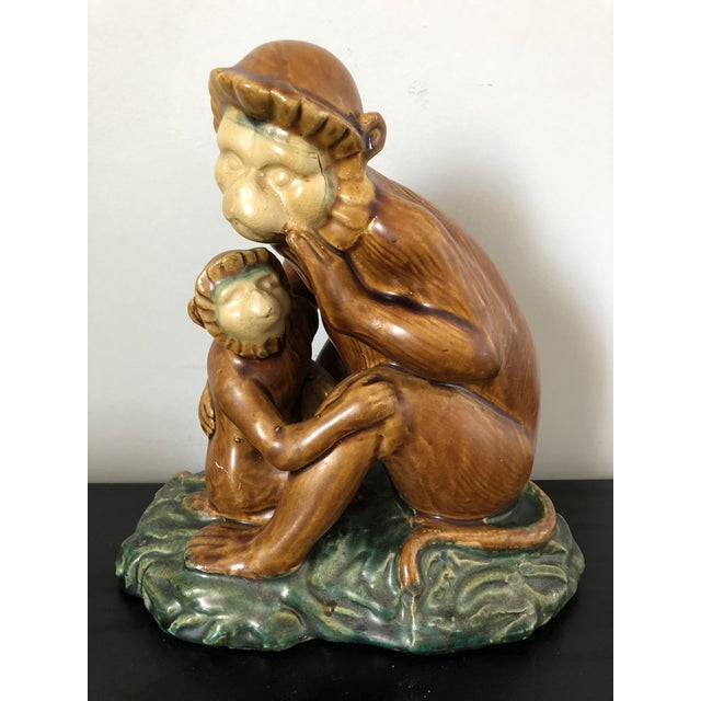 Vintage Majolica Pottery Monkey Figure - Image 7 of 7