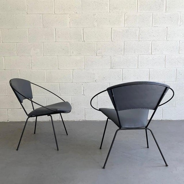Mid Century Modern Wrought Iron Upholstered Hoop Chairs- A Pair For Sale In New York - Image 6 of 8