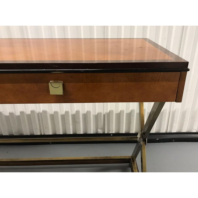 Gold Vintage Hickory-White Burl and Brass Console For Sale - Image 8 of 12