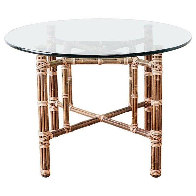McGuire Organic Modern Bamboo Rattan Dining Table For Sale - Image 13 of 13