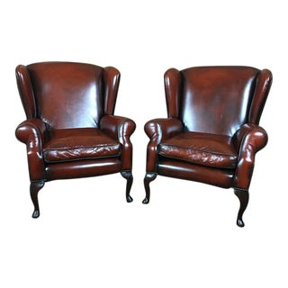 Early 20th Century Vintage English Traditional Leather Edwardian Wingback Chairs- A Pair For Sale