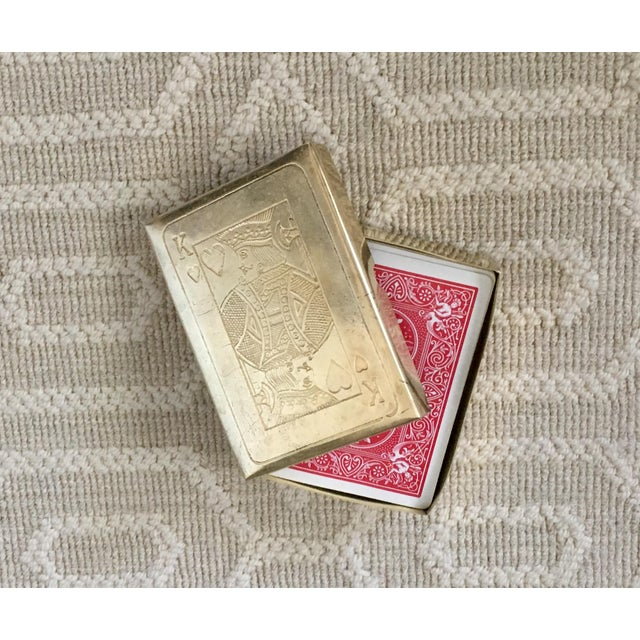 Vintage brass playing card case. A unique place to store your favorite deck. Perfect for your coffee table, desk or...