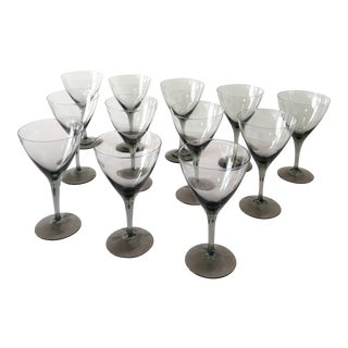 Vintage Smoke Gray Crystal Cordial Glasses - Set of 12 For Sale