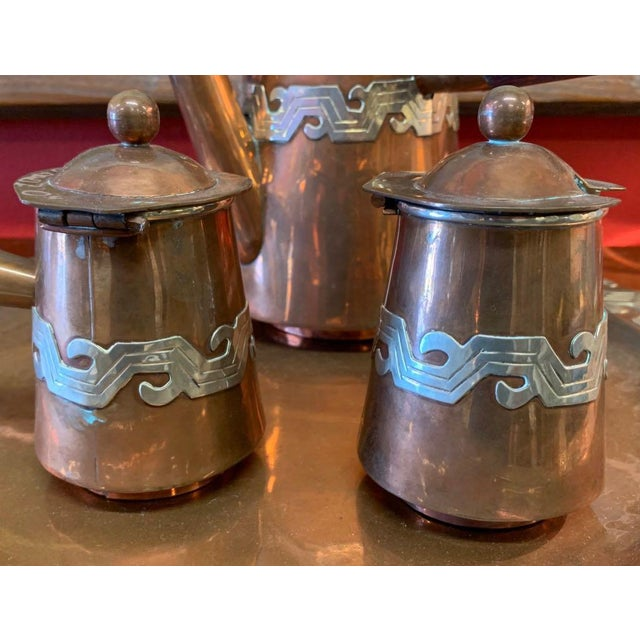 Artesanias Mexico Copper & Silver Coffee Set of 4 For Sale In Tampa - Image 6 of 13