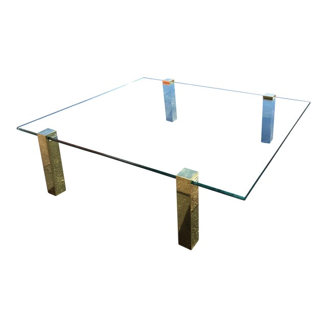 1970s Vintage Pace Collection Style Brass and Floating Glass Coffee Table For Sale
