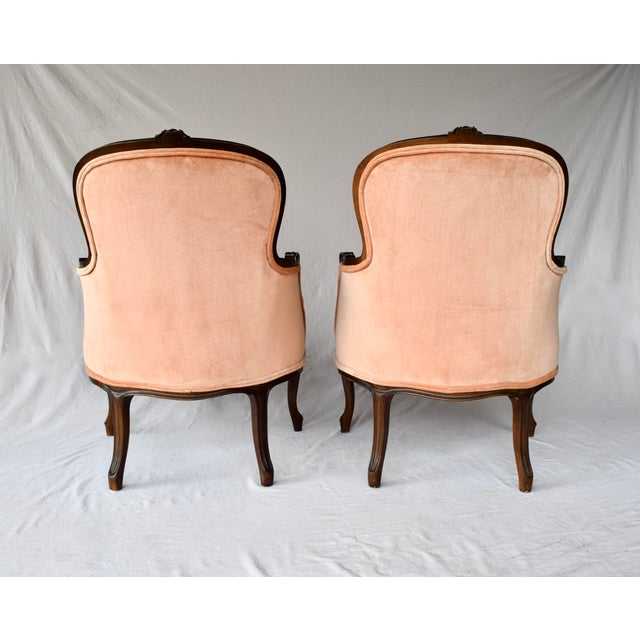 Pair of Louis XV Carved Walnut Bergere Chairs For Sale - Image 11 of 12
