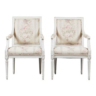 18th Century White Swedish Gustavian Arm Chair For Sale