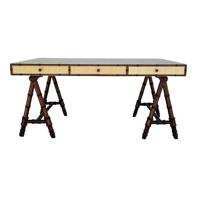 Hollywood Regency Williams Sonoma Home Faux Bamboo and Cane Classic Desk For Sale
