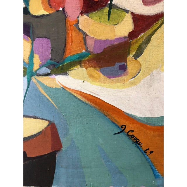 Acrylic 1969 Floral Painting Mid Century Still Life Ny Artist For Sale - Image 7 of 8