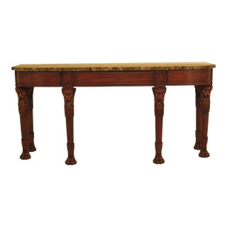 1990s Traditional Henkel Harris Mahogany Marble Top Lion Head Console Table For Sale