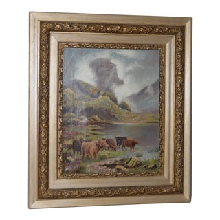 Early 20th Century Scottish Highlands Cattle Oil Painting C.1913 For Sale