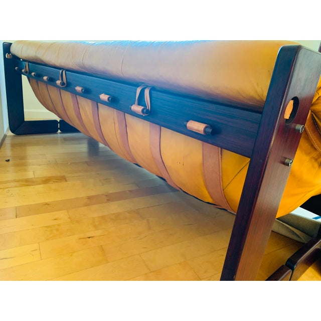 Modern Vintage Percival Lafer Yellow Leather Sofa For Sale - Image 3 of 5