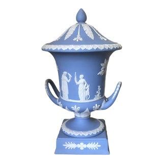 1930s Wedgwood Blue Jasperware Campana Vase on Plinth For Sale