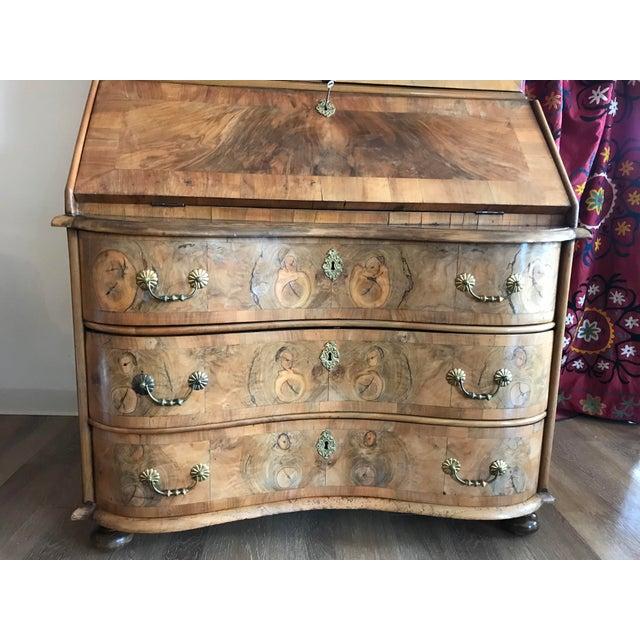 1700s Italian Drop Front Walnut Secretary Desk For Sale - Image 12 of 12