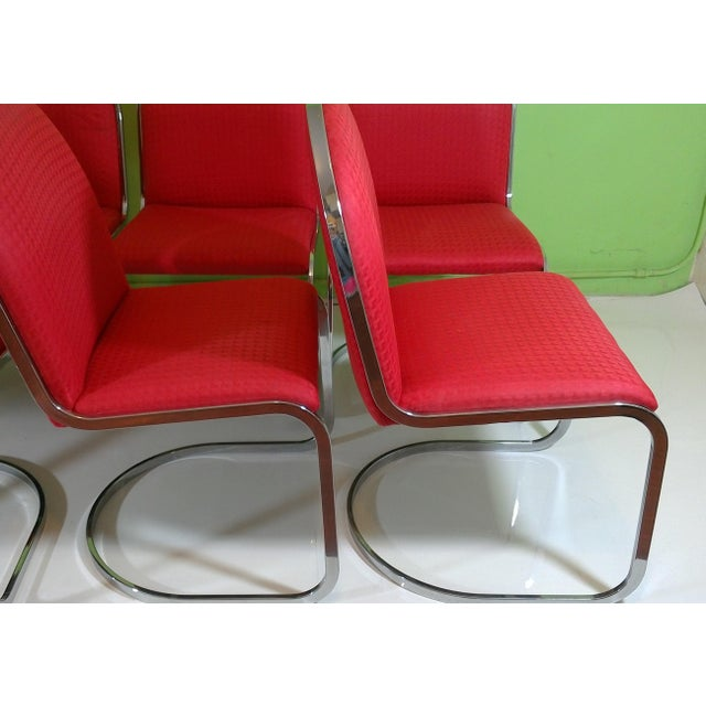 Chrome Red Upholstered Dining Chairs - Set of 8 - Image 4 of 11