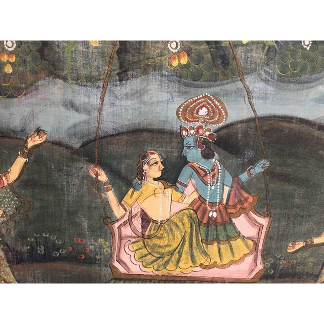 1950s Large Colorful Pichhavai Silk Asian Painting With Krishna and Female Gopis For Sale - Image 5 of 11