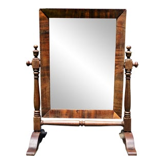 Antique American Empire Flame Mahogany Gentleman's Shaving Mirror For Sale