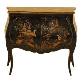 Chinoiserie Paint Decorated 2 Door Bombe Commode For Sale