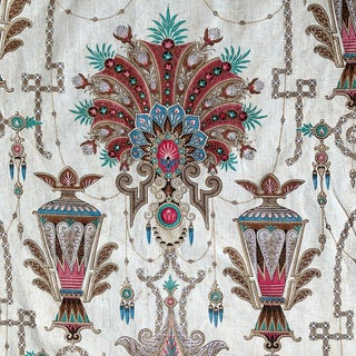 119 X 98 Huge Antique French Chateau Curtain Egyptian Design Influence 1850- 1870 Hand Block Printed For Sale