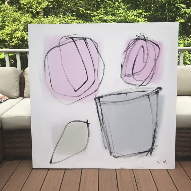 Simple shapes evoke a container of flowers. Bold and stunning in its simplicity. Edges painted white, back wired, ready to...