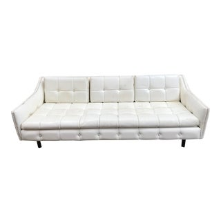 Mid-Century Modern White Vinyl Upholstered Tufted Sofa For Sale