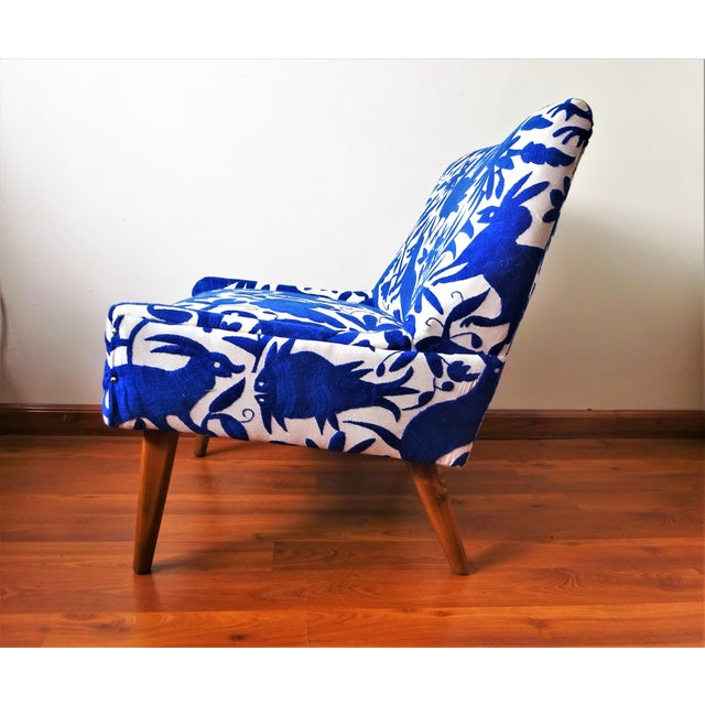 African Mid-Century Bohemian Cobalt Blue Otomi Hand Embroidered Lounge Chair For Sale - Image 3 of 11