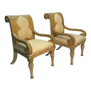 19th Century Vintage Sicilian Armchairs - A Pair For Sale