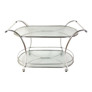 Mid-Century Polished Aluminum and Mosaic-Pattern Glass Tea Table/Bar Cart on Wheels