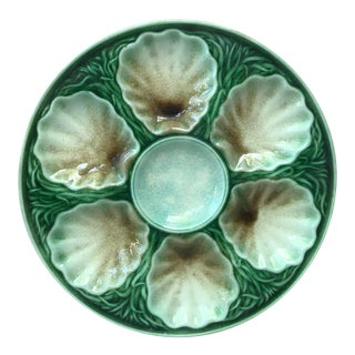 French Majolica Oyster Plate Salins, Circa 1890 For Sale
