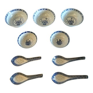 Vintage Chinese Rice Bowls and Spoons - Set of 9 For Sale