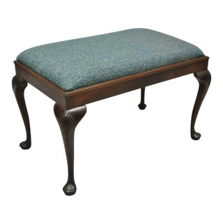 Early 20th Century Antique Queen Anne Mahogany Upholstered Vanity Piano Bench For Sale