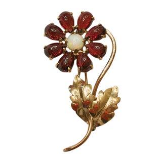 Vintage 14k Gold Opal and Garnet Flower Brooch For Sale