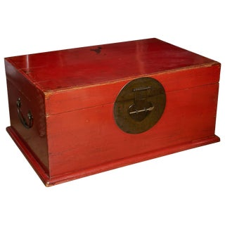 Red Lacquered Wood Trunk / Chest, China, Late 19th Century For Sale