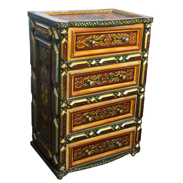 1980's Vintage Hand Painted Moroccan Style Chest For Sale