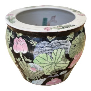 Chinese Famille Noir Hand Painted Ceramic Fish Bowl Jardinière Planter For Sale
