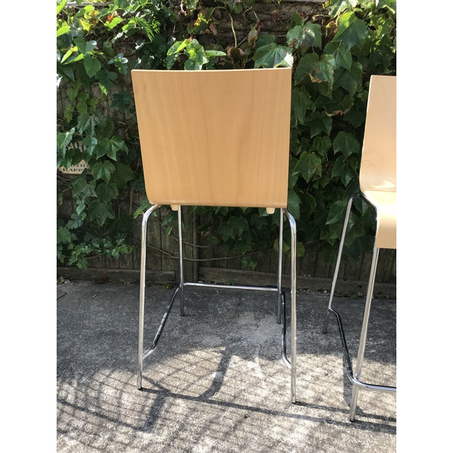 Modern Wooden Stools - a Pair For Sale - Image 4 of 7