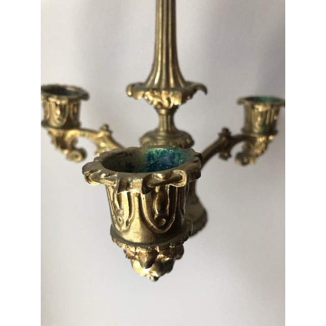French Regency Gilt Bronze Hanging Candelabra Chandeliers - a Pair For Sale - Image 4 of 9