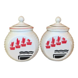 1950s Fire King Range Jars - a Pair For Sale