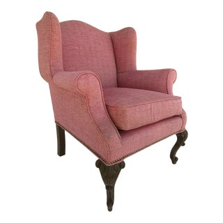 19th Century Carved Cabriole Leg Wing Chair For Sale