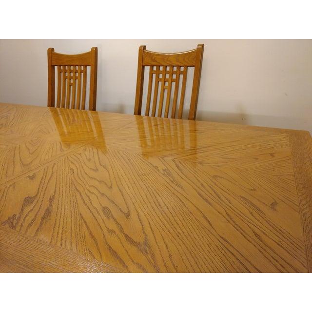 Natural Finish Solid Oak Dining Set For Sale - Image 4 of 7