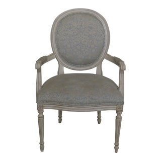 Ethan Allen French Louis XV Style Open Arm Chair For Sale
