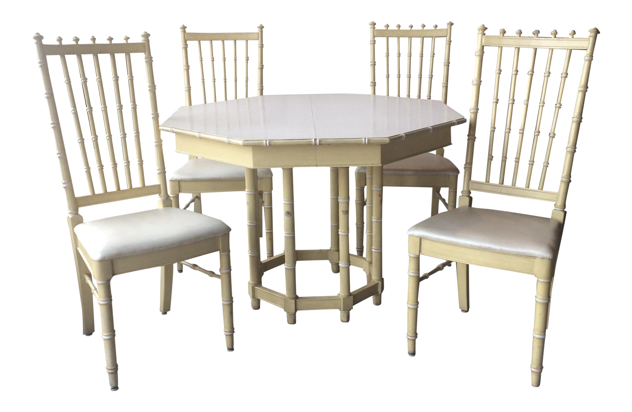 Vintage Thomasville Faux Bamboo Dining Table And Chairs For Sale