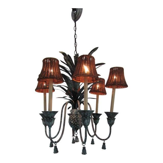 Six Lamp Verdi-Gris Pineapple Chandelier For Sale