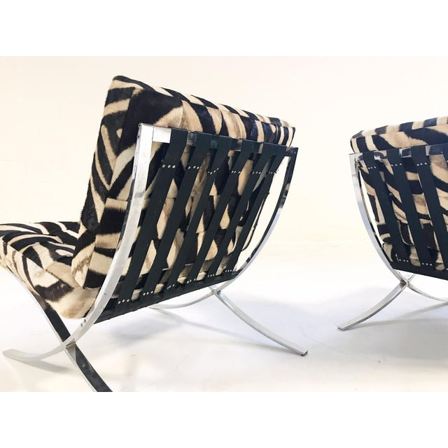 Late 20th Century Vintage Barcelona Style Patchwork Zebra Hide Chairs - A Pair For Sale - Image 5 of 7