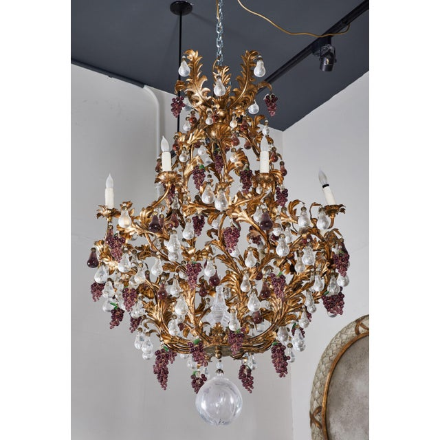 An Elaborate French 1930s Vinegrapes & Drops Chandelier For Sale - Image 4 of 9