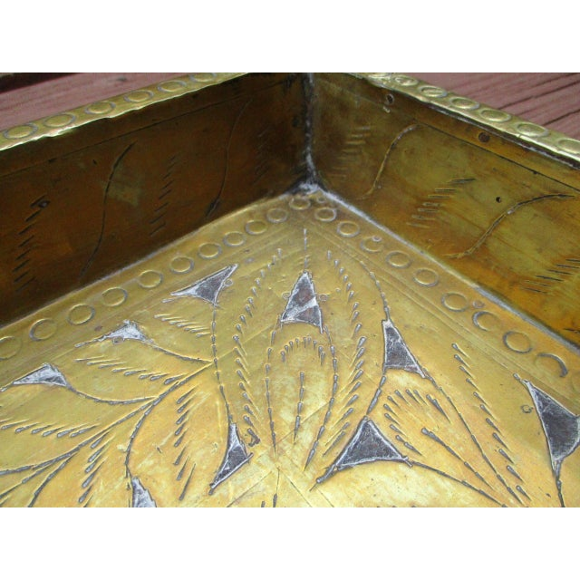 Antique Ornate Hammered Brass Wood Serving Tray - Image 9 of 11