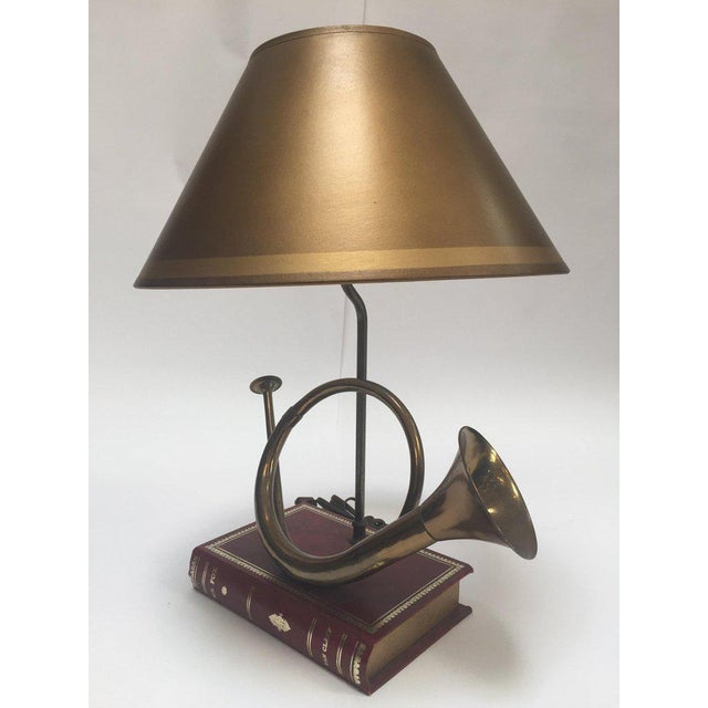 Vintage Brass Looped Hunter's Horn Bugle Made Into a Table Lamp by Robert Abbey For Sale - Image 11 of 13