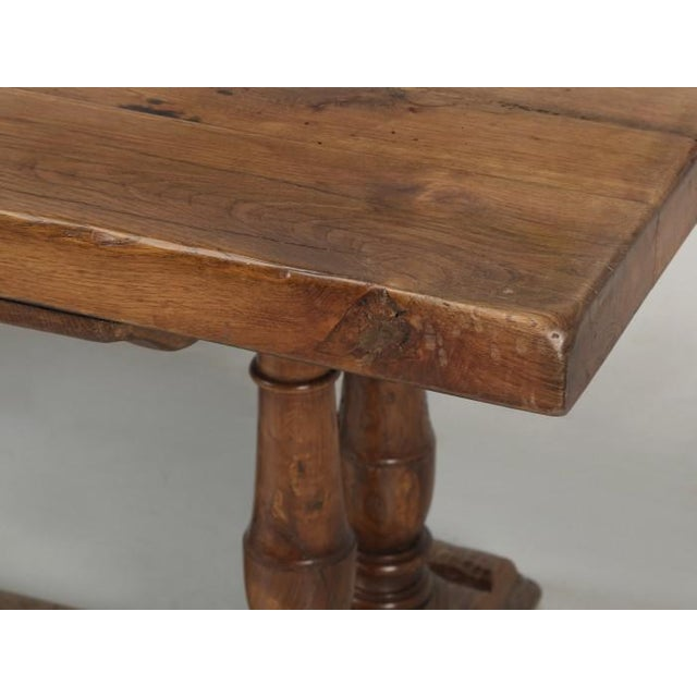 Brown Antique French White Oak Trestle Table C. 1880 For Sale - Image 8 of 13