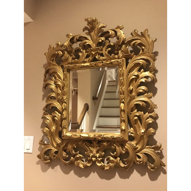 Art Deco Antiqued Art Deco Gold Brocade Wall Mirror For Sale - Image 3 of 11